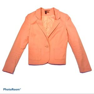 H&M Coral Pink One-Button Blazer with Pockets
